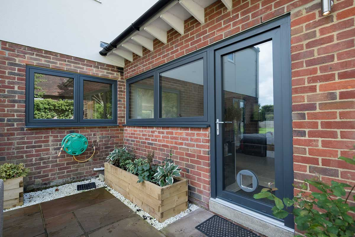 glass residence door with cat flap